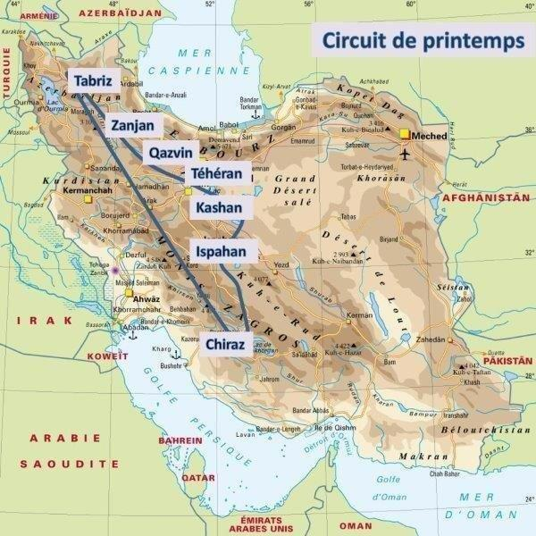 Carte d'Iran - circuit du printemps